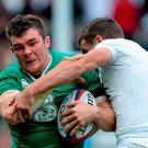 Peter O'Mahony, Ireland, is tackled by George Ford, England. Rugby World Cup Warm-Up Match, England v Ireland. Twickenham Stadium, London, England. Picture credit: Brendan Moran / SPORTSFILE