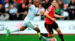 Andre Ayew (left) scored a goal and created one in the win over Manchester United