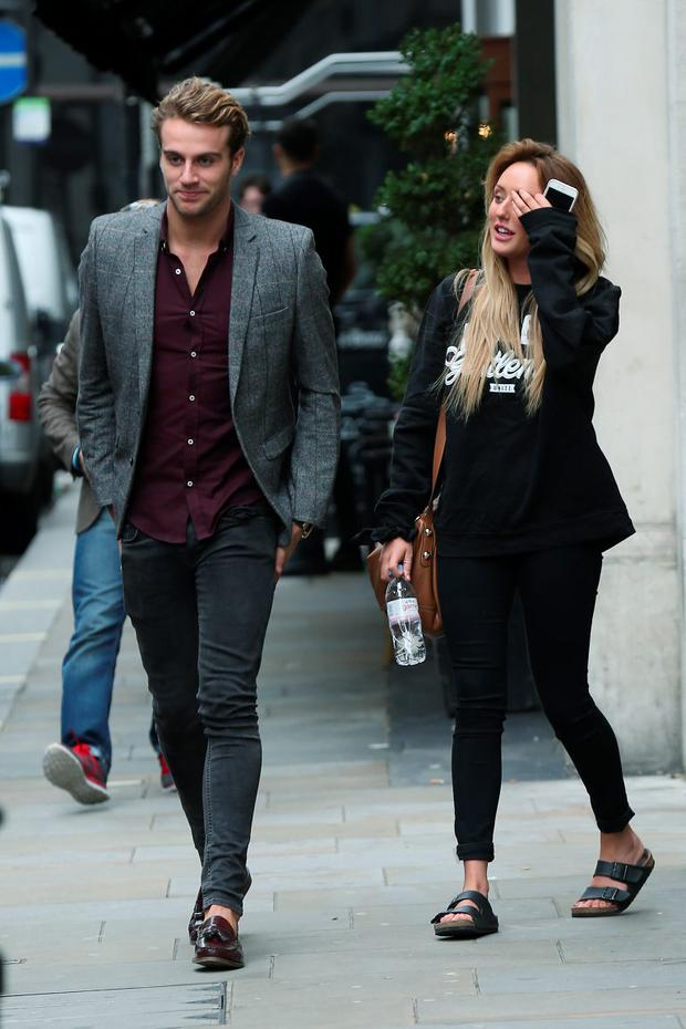 Charlotte Crosby and Max Morely seen outside the Soho Sanctum Hotel on September 3, 2015 in London, England. (Photo by Neil Mockford/Alex Huckle/GC Images)