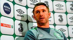 Republic of Ireland's Robbie Keane during a press conference today. Abbotstown, Co. Dublin. Picture credit: Sam Barnes / SPORTSFILE