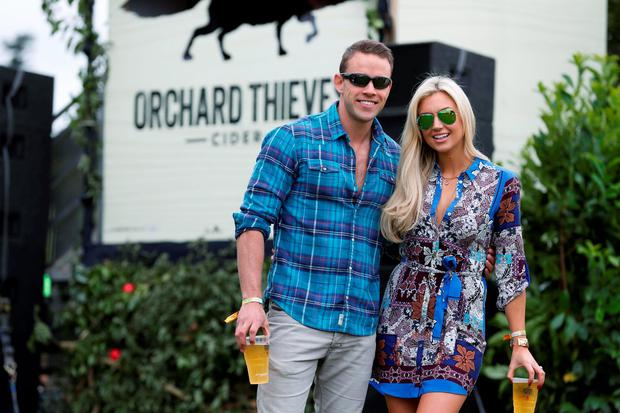 Pictured are Rosanna Davison and husband Wes Quirke, enjoying a pint of Orchard Thieves cider at The Den at Electric Picnic.