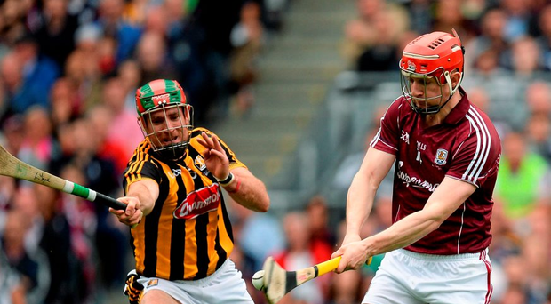 Joe Canning, Galway, in action against Kieran Joyce, Kilkenny