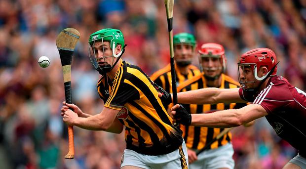 6 September 2015; Joey Holden, Kilkenny, in action against Jonathan Glynn, Galway. GAA Hurling All-Ireland Senior Championship Final, Kilkenny v Galway, Croke Park, Dublin. Picture credit: Diarmuid Greene / SPORTSFILE