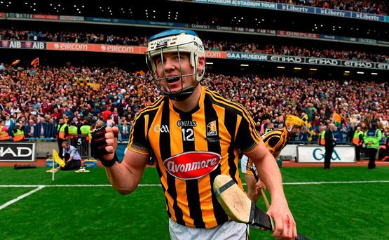 6 September 2015; TJ Reid, Kilkenny, celebrates at the final whistle. GAA Hurling All-Ireland Senior Championship Final, Kilkenny v Galway, Croke Park, Dublin. Picture credit: Brendan Moran / SPORTSFILE