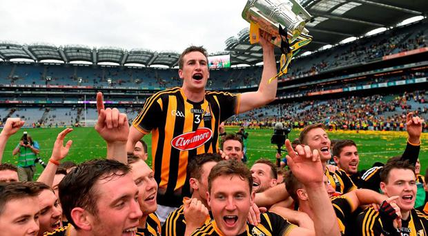 6 September 2015; Kilkenny captain Joey Holden celebrates with the cup and his team-mates after the game. GAA Hurling All-Ireland Senior Championship Final, Kilkenny v Galway, Croke Park, Dublin. Picture credit: Brendan Moran / SPORTSFILE