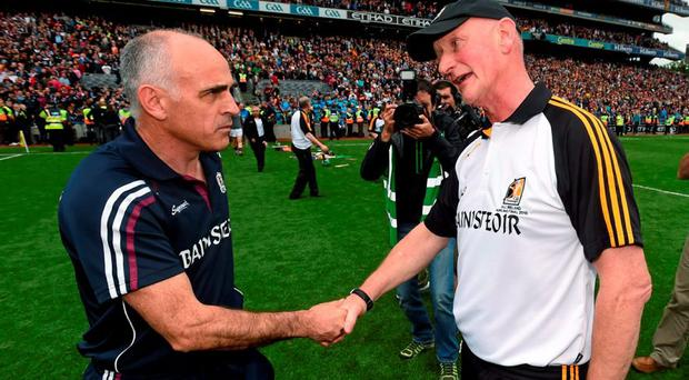Kilkenny manager Brian Cody and Galway manager Anthony Cunningham shake hands after the game. GAA Hurling All-Ireland Senior Championship Final, Kilkenny v Galway. Croke Park, Dublin. Picture credit: Stephen McCarthy / SPORTSFILE