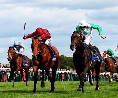 Twilight Son (right), under Fergus Sweeney, edges out Strath Burn (left) to capture Saturday's Betfred Sprint Cup at Haydock
