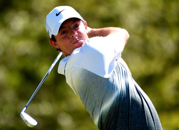 Rory McIlroy plays his tee shot on the 17th hole during the third round of the Deutsche Bank Championship at TPC Boston