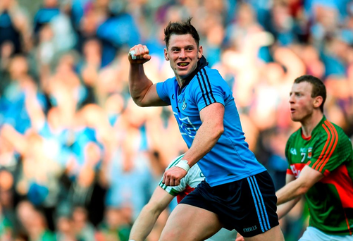 Philly McMahon celebrates scoring Dublin's second goal in Saturday's All-Ireland SFC semi-final replay against Mayo