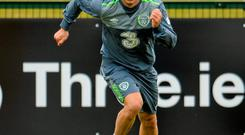 Wes Hoolahan going through his paces during training in Abbotstown yesterday