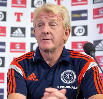 Scotland manager Gordon Strachan during the press conference at Hampden Park