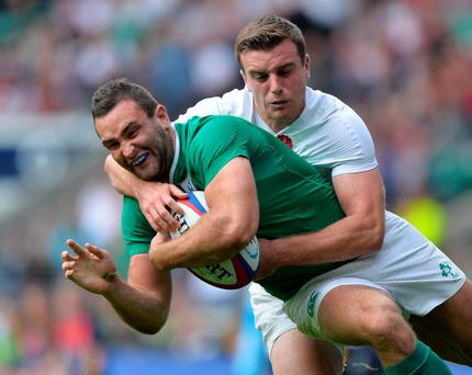 Dave Kearney fails to escape the clutches of England's George Ford on Saturday