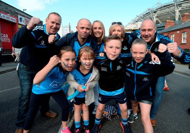 Dublin fans; the Lathams from Donabate, and the Campbells from Balbriggan. All Ireland Senior Football Championship semi-final replay: Dublin v Mayo, Croke Park, Dublin. Picture: Caroline Quinn