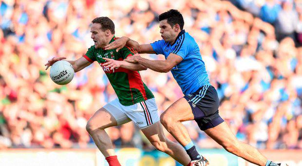 Andy Moran, Mayo, in action against Cian O'Sullivan, Dublin