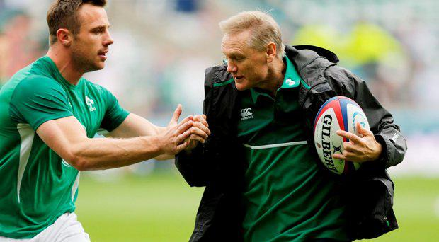 Ireland head coach Joe Schmidt and Tommy Bowe before the match