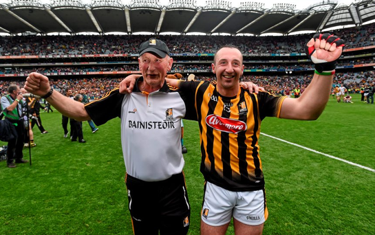6 September 2015; Kilkenny's Eoin Larkin with manager Brian Cody following their victory. GAA Hurling All-Ireland Senior Championship Final, Kilkenny v Galway. Croke Park, Dublin. Picture credit: Stephen McCarthy / SPORTSFILE