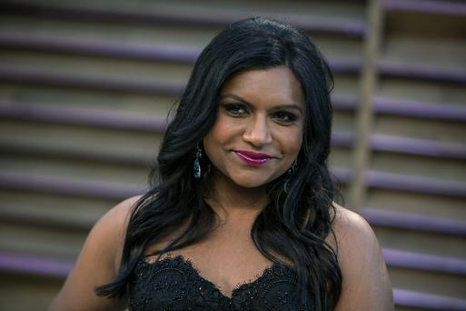 Mindy Kaling arrives to the 2014 Vanity Fair Oscar Party