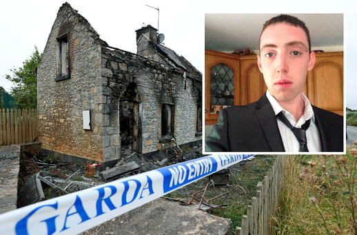 The scene of the house fire in Rhode, Co. Offaly where Ciaran Murphy was badly injured last night.