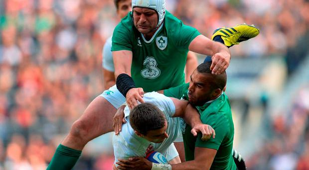 Rory Best and Simon Zebo struggle to get to grips with England fly-half George Ford during Ireland's defeat at Twickenham