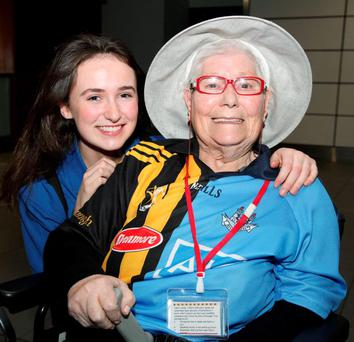 Pilgrim Nora Lacey from Donnybrook in Dublin with her student helper Sadhbh Mc Carrick from Mount Anville School at Dublin Airport as they prepare to fly out to Lourdes. Photo: John McIlroy