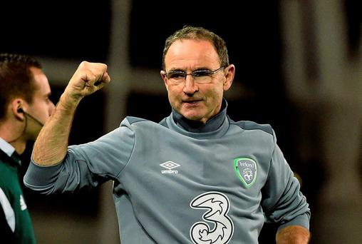Republic of Ireland manager Martin O'Neill celebrates on the final whistle. UEFA EURO 2016 Championship Qualifier, Group D, Republic of Ireland v Georgia, Aviva Stadium, Lansdowne Road, Dublin. Picture credit: David Maher / SPORTSFILE