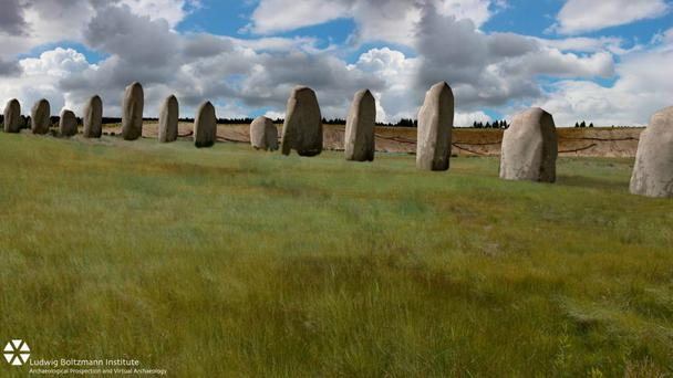 An artist's impression issued by the British Science Association showing how the Durrington Walls monoliths might have looked more than 4,500 years ago