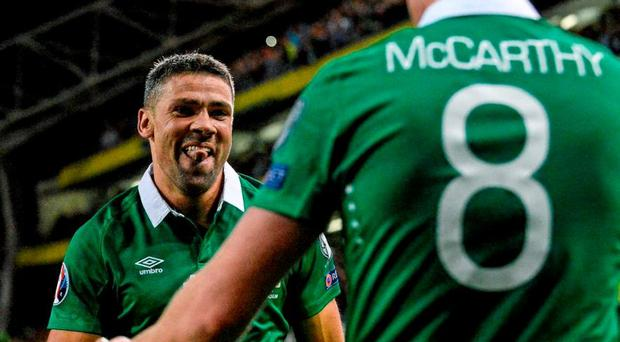 Jon Walters, Republic of Ireland, celebrates with team-mate James McCarthy after scoring his side's winning goal. UEFA EURO 2016 Championship Qualifier, Group D, Republic of Ireland v Georgia, Aviva Stadium, Lansdowne Road, Dublin. Picture credit: Cody Glenn / SPORTSFILE