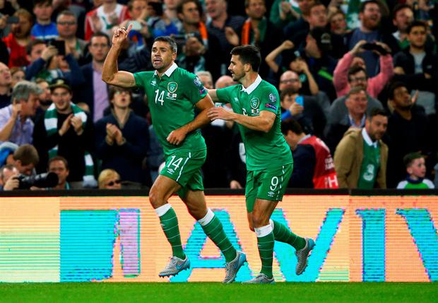 The Republic of Ireland's Jon Walters celbrates his goal with Shane Long during their Euro 2016, Group D qualifier at the Aviva Stadium