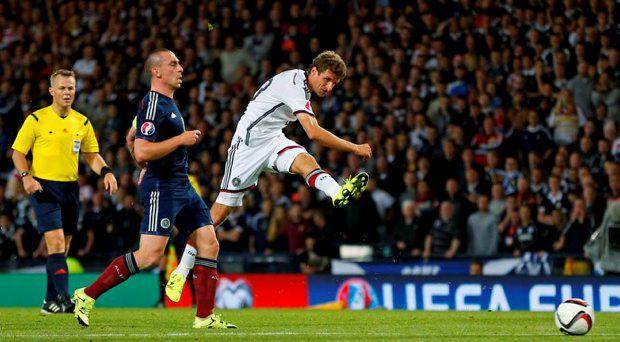 Germany's Thomas Muller shoots