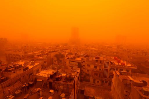 A general view of Homs city is seen during a sandstorm, Syria September 7, 2015. Reuters/Omar Sanadiki