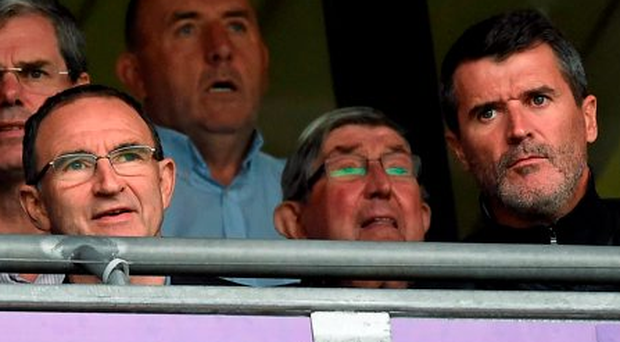 Ireland manager Martin O'Neill and his assistant Roy Keane watching the All-Ireland hurling final at Croke Park on Sunday