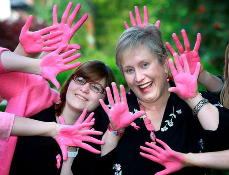 Sharon Burrell (right) with Naomi Elster of the Irish Cancer Society at the launch of the Paint It Pink Campaign