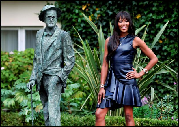 Supermodel Naomi Campbell alongside James Joyce at the announcement that she is the new face of Newbridge Silverware launching it's 'Little Blue Box' campaign at the Merrion Hotel