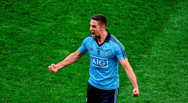James McCarthy, Dublin, celebrates at the final whistle