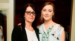 (l to r): Monica Ronan and Saoirse Ronan at the Brown Thomas / ISPCC charity luncheon. Photograph: Leon Farrell / Photocall Ireland Photograph: Leon Farrell / Photocall Ireland