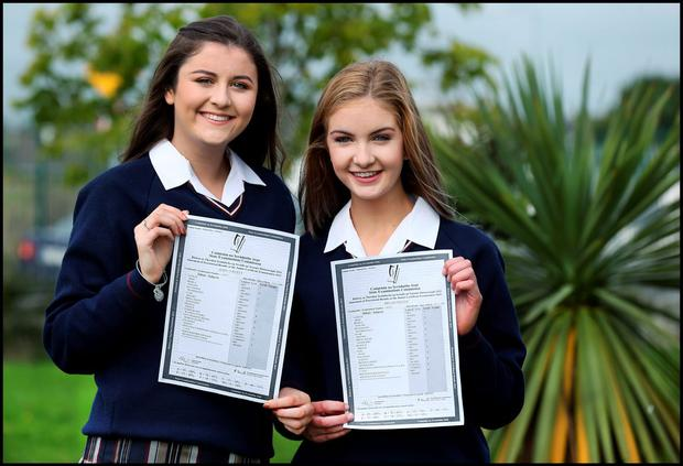 Celebrating their Junior Cert Results at Donabate Community College was from left, Aoife O'Reilly from Donabate who got 3A's, 4B's and 4C's and Megan Hogan from Donabate who got 1A, 7B's and 3 C's in their results. Pic Steve Humphreys