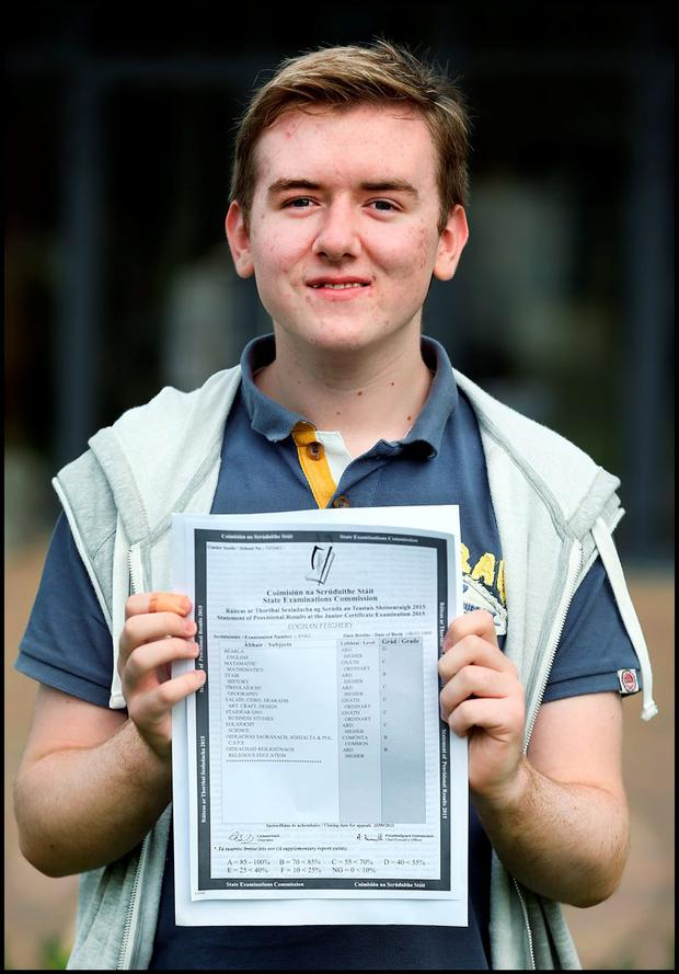 Celebrating their Junior Cert Results at Donabate Community College was Eoghan Feighery from Rush who got 8 Honours and 1 Pass in his results. Pic Steve Humphreys
