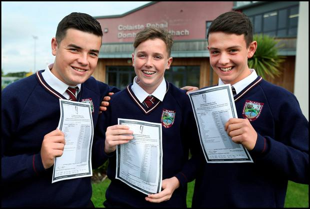 Celebrating their Junior Cert Results at Donabate Community College was from left, Alex Argue who got 6 Honours, Stephen Murphy who got 7 Honours and Conor Plant who got 11 honours in their results
