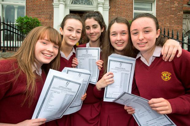 Loreto on The Green Students celebrate their Junior Cert Results today Ffrom left; Rhyna Weafer, Teranure, Ales Murray, Glasnevin, S?ofra Brady, Glasnevin, Alex Deasy, Glasnevin and Hanna Flood, Swords. PIC Colin Riordan