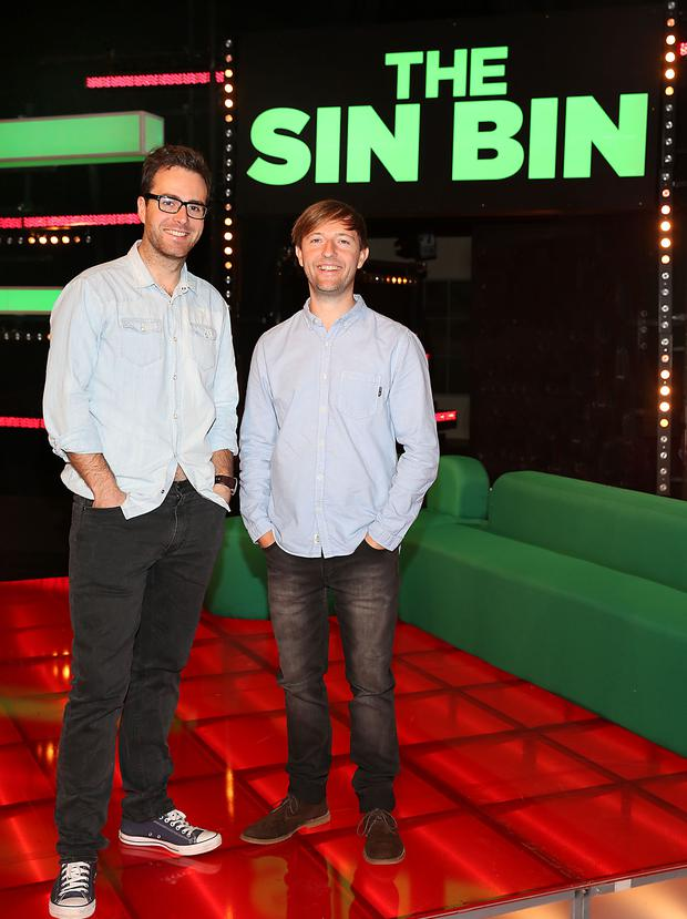 Top comedian Andrew Maxwell and Off The Ball presenter Joe Molloy pictured on the set of TV3s new rugby entertainment show The Sin Bin.