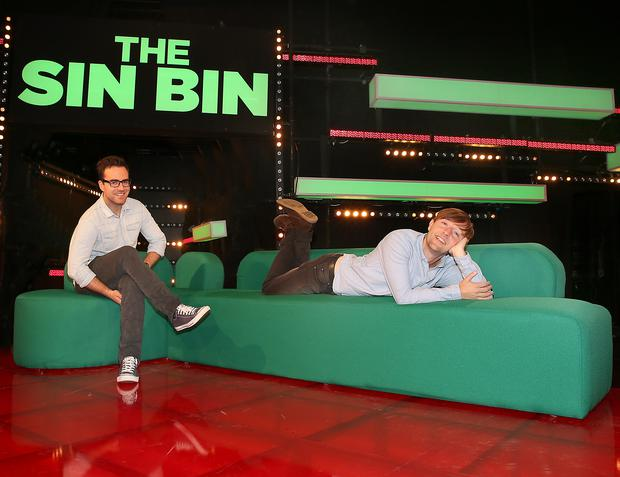 Off The Ball presenter Joe Molloy and Top comedian Andrew Maxwell pictured on the set of TV3s new rugby entertainment show The Sin Bin.