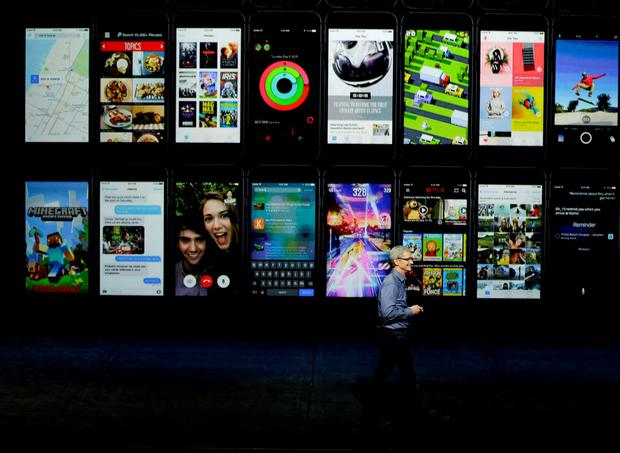Apple CEO Tim Cook discusses the Apple TV product advancements during the Apple event at the Bill Graham Civic Auditorium in San Francisco, Wednesday, Sept. 9, 2015. (AP Photo/Eric Risberg)
