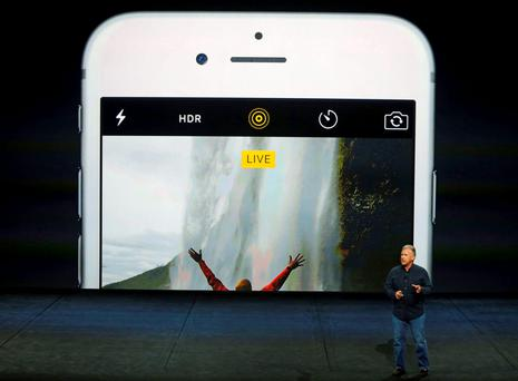 Phil Schiller, Senior Vice President of Worldwide Marketing at Apple Inc, speaks about the live photo capability for new iPhone 6s and iPhone 6s Plus during an Apple media event in San Francisco, California, September 9, 2015. Reuters/Beck Diefenbach
