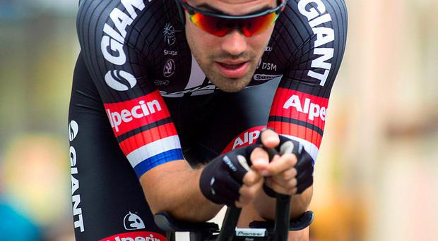 Tom Doumoulin on his way to winning yesterday's individual time trial