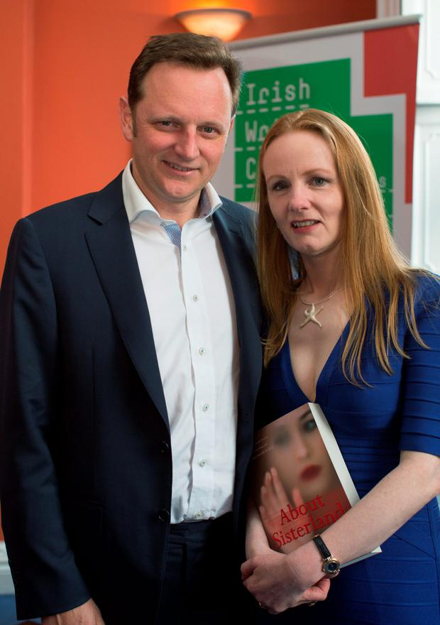 Martina Devlin with her husband David Murphy at the launch of her new book 'About Sisterland', at the Irish Writers Centre, Parnell Square, Dublin. 9/9/2015 Picture by Fergal Phillips