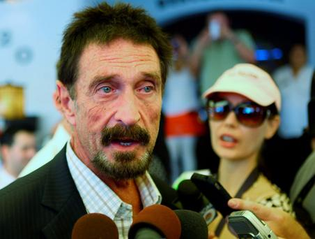 John McAfee said he would run under 'Cyber Party' banner.