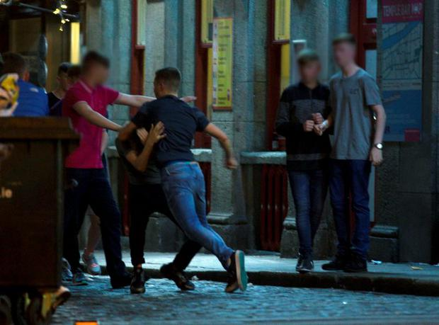 Teenagers on Dame street out celebrating their junior cert results.