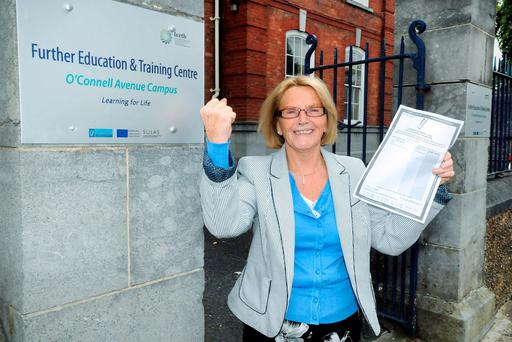 71 Year Old Pam Noonan, receiving her Junior Certificate Results from Further Education and Training Centre, Limerick. Pic: Gareth Williams / Press 22