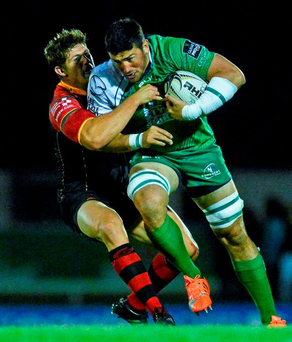 Connacht's Ben Marshall on the charge against Ross Wardle of Newport Gwent Dragons last weekend