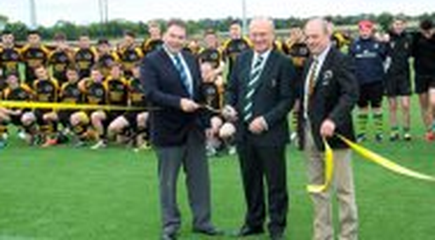 President of the IRFU, Martin O'Sullivan, along with Leinster Branch president Robert McDermott and club president Pat Rooney were on hand to cut the ribbon for the opening of Ashbourne's fantastic new 4G pitch